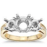 Three Stone Pave Diamond Engagement Ring in 18k Yellow Gold (1/4 ct. tw.)